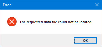 "How to get rid of the ""The requested data file could not be located"" error in Trados Studio"